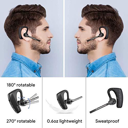 【TTMOW最新進化版】BluetoothヘッドセットV5.0ワイヤレスイヤホン片耳CSRチップダブルマイク内蔵日本技適マーク取得品CVC8.0ノイズキャンセリング両耳兼用270°回転95mAhハンズフリー通話携帯電話用長持ちイヤホンビジネス運転用日本語取扱書【黒】
