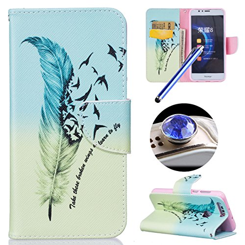 Coque en Cuir pour Huawei Honor 8,Etsue Etui Housse Cuir Folio Portefeuille Huawei Honor 8 magnétique PU Leather Wallet Support Feature Flip Case Cover Portefeuille Pochette Ananas Chat