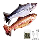 TOOGE 2 Pack 11' Electric Moving Fish Cat Toy Realistic Interactive Flopping Fish Cat Kicker Catnip Toys for Indoor Cats Pets Kitten (red)
