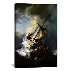 iCanvasART Rembrandt The Storm on the Sea of Galilee Canvas Art Print Painting Reproduction #1127 40'x26'