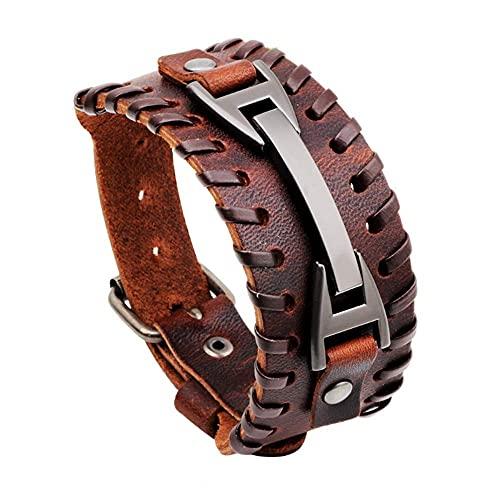 YXYY Pulsera ancha estilo punk decoración de metal para hombre Pulsera de cuero pulseras brazalete brazalete para niños niños pulsera de hombres (marrón)