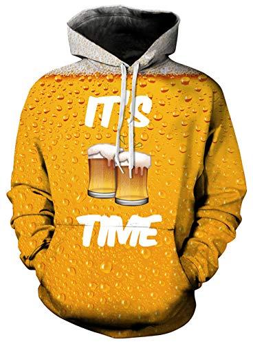 Loveternal Bier Hoodie Herren 3D Digital Print Pullover Langarm Sweatshirt für Frauen Männer mit Kordelzug XXL