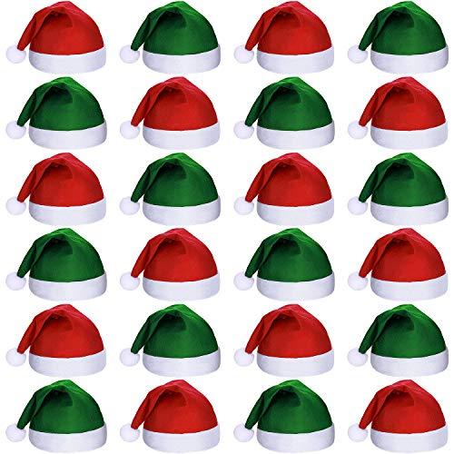 24 Piezas Sombreros de Papá Noel de Tela No Tejida de Navidad Gorros de Santa Claus de Navidad para Adultos Suministros de Fiesta de Navidad (Verde y Rojo)