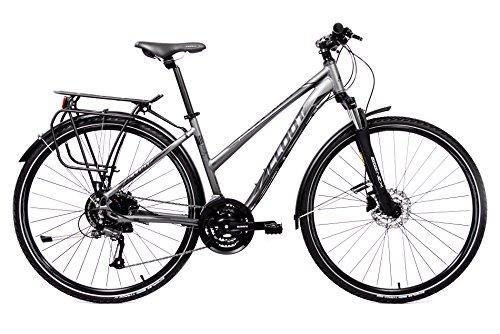 Bicicleta Hibrida - Bici Cicloturismo Trekking - Cloot Adventure Disc W, Shimano 24 velocidades, Frenos de Disco Hidraulicos Shimano M315 Aluminio 6061, Horquilla Suntour, Llantas 700, Schwalbe Tyrago, Talla de 1,60 a 1,75