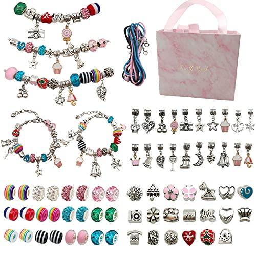 BANNESE Kit para Hacer Pulseras Niñas,Kit Joyería con Cuentas para Pulseras, Creatividad Manualidades, Regalo para Cumpleaños Navidad, para Niñas 6-14 Años