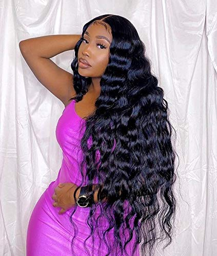 13x4 Loose Deep Wave Lace Front Wigs Human Hair with Baby Hair Brazilian Virgin Hair Human Hair Wigs for Black Women HD Transparent Lace Pre Plucked Natural Hairline 180% Density 28 Inch