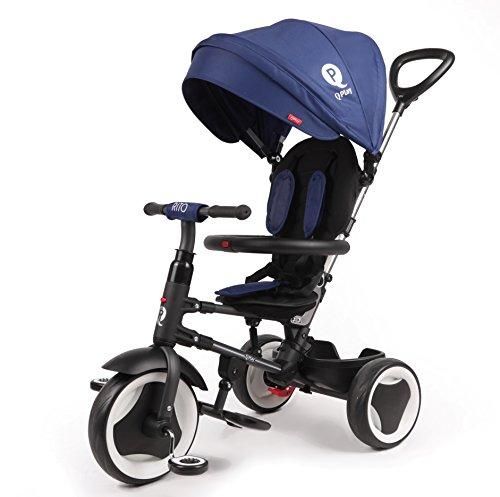 Mondial Toys Triciclo Passeggino Pieghevole QPlay RITO 3in1 con MANIGLIONE DIREZIONABILE E CAPPOTTINA Parasole Colore Blu