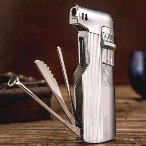 Katzs® Tobacco Pipe Lighter & Czech Pipe Tools - All in One - Soft Flame (Silver)