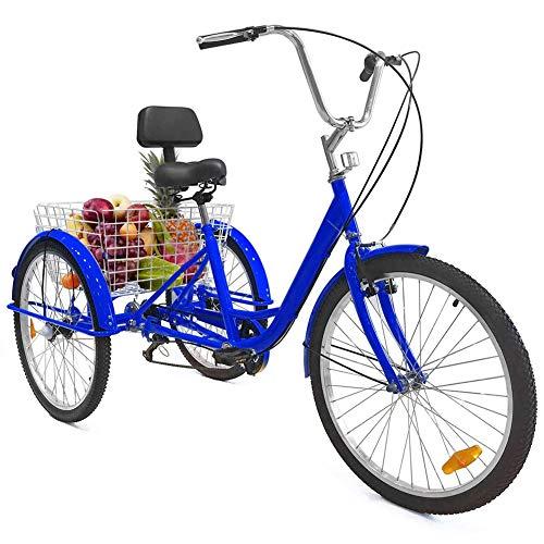 TTFGG 24-Zoll Fahrrad Erwachsenen Dreirad, 3-Rad Fahrrad, Mit Großen Korb Rückenlehne Sitz, Geeignet Für Jugendliche, Damen, Herren, Einkaufen, Shopping, Sport, Freizeit,Blau
