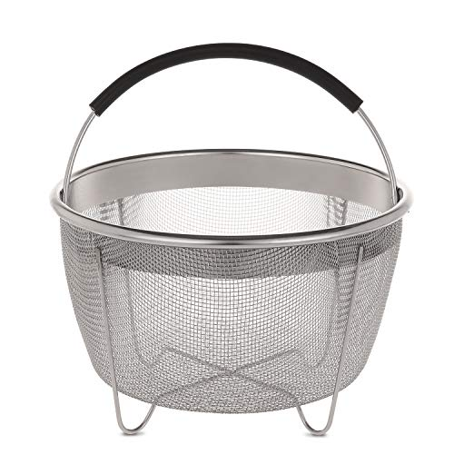 Aozita Steamer Basket for Instant Pot Accessories 3 Qt Only- Stainless Steel Steam Insert with Premium Handle for 3 Quart Pressure Cookers - Vegetables, Eggs, Meats, etc