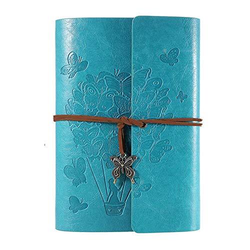 OMEYA Leder Notizbuch, Vintage-Spiralbindung tagebuch, Ringbuch Retro Journal, Nachfüllbar Skizzenbuch, Reisetagebuch Mit Linienpapier, Geschenke für Damen und Mädchen A5 9.3''×6.3 -Blue