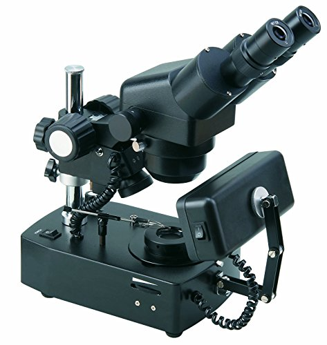 BestScope BS-8030T Gemological Trinocular Zoom Microscope, WF10x Eyepieces, 20x-40x Magnification, Brightfield and Darkfield Illumination, Halogen and Fluorescent Light Sources, 110V