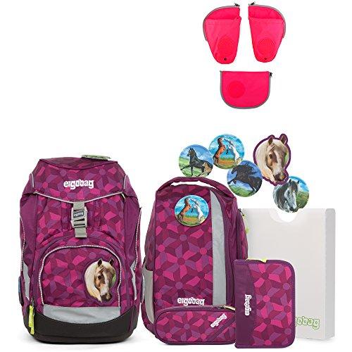 Ergobag Pack NachtschwärmBär Schulrucksack-Set 6tlg + Seitentaschen ZIP-Set Pink