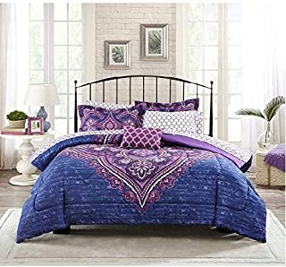 Mainstay Grace Medallion Purple Bed in a Bag Complete Bedding Set, Queen