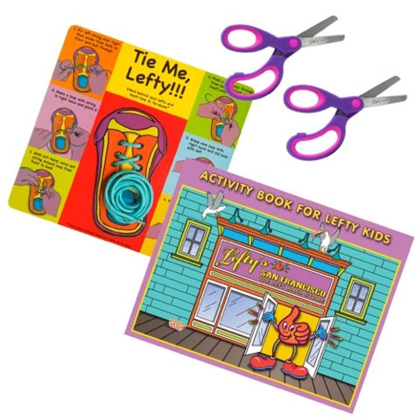 Left-Handed 4 Piece Learn to Tie, Activity Book, 2 Pair Purple/Pink Scissors, Pink