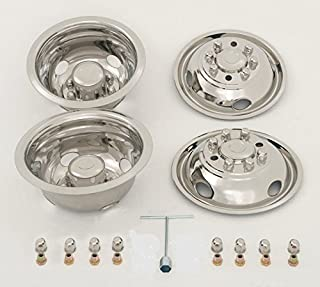 "Kaper II SS-E35008-ULT Polished Stainless Steel Ford Wheel Simulator Set (16"" X 6"", 8 Lug 6.5 Bolt Circle Ford E350 / E450, 4 Hand Hole)"