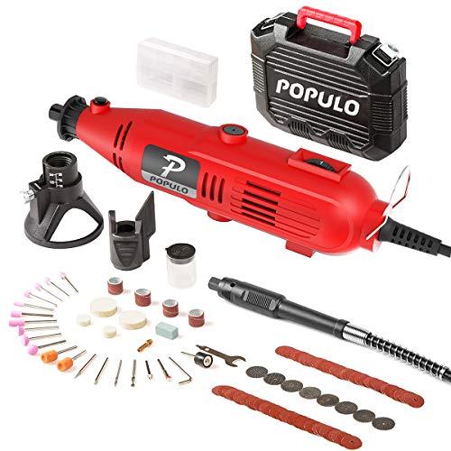 Populo High performance Rotary Tool kit con 107 accessori, 3 attacchi, velocità variabile, albero flessibile e universale pinza per abrasivo, polacco, taglio, incisione