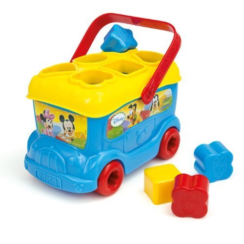 Mickey and Friends Shape Sorter Bus (Blue) by Clementoni (English Manual)