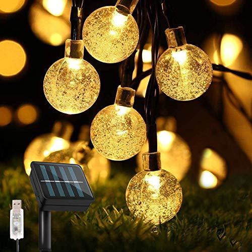 Guirnaldas Luces Exterior Solar, TOPYIYI 50LED 8M Luces Solares Led Exterior Jardin con USB Recargable, 8 Modos & Impermeable Cadena de Luces Solares Decoración para Terraza Patio Balcones Fiesta Boda