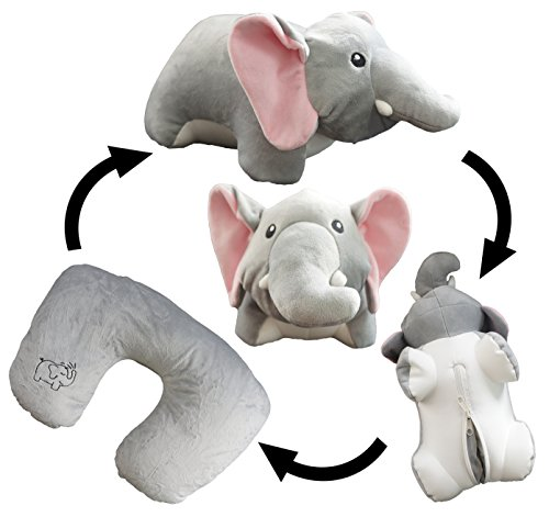Yzakka Convertible Neck Pillow U Shaped Travel Pillow Stuffed Plush Toy Animal Elephant