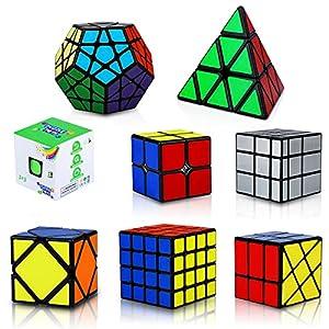 KidsPark Cube Set 8 Pack 3D Puzzle 2x2 + 3x3 + 4x4 + Pyraminx + Megaminx + Mirror + Skewb + Fenghuolun Speed Cube Magic Toys for Children & Adults, PVC Sticker Black from Kidspark
