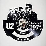 Fantasy U2 - Reloj de Pared con Discos de Vinilo - Decoración de la habitación de Invitados - Idea de Regalo para Adultos, Hombres y Mujeres - Diseño de Arte Moderno de música Rock