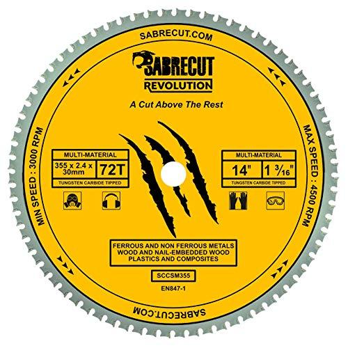 1 x SabreCut SCCSM355_72 355mm 72T x 30mm 25.4mm 20mm Bore Multi-Material Metaal Hout Kunststof Cirkelzaagblad voor Dewalt Makita Milwaukee en vele anderen