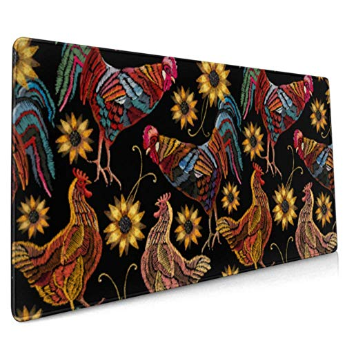 Gaming Mouse Pad Embroidery Chicken Rooster Sunflowers Keyboard Mat Large Big Computer Keyboard Mouse Mat Desk Pad with Non-Slip Base for Home Office Gaming Work, 35.4x15.7inch