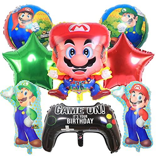 9 Piezas Globo de Super Mario HANEL-Super Mario Decoraciones de Cumpleaños Aluminio Globo Suministros de Fiesta para Navidad decoración de cumpleaños Artículos para Fiestas