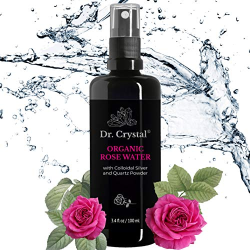 Organic Rose Water Spray for Face - 3.4oz Rosewater Organic Fresh Rose Toner in Miron Violet Glass Bottle, Super Solution for Hydration and Glow, Rose Water Facial Toner for Women with Quartz & Silver