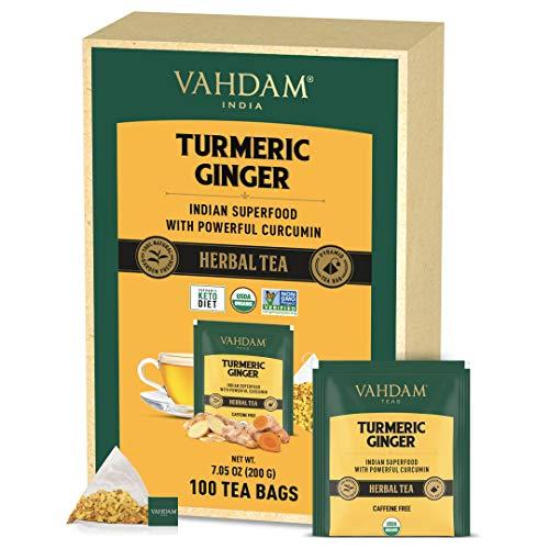VAHDAM, Orgánica té de hierbas SUPERFOOD potente de cúrcuma + jengibre (100 Bolsitas De Té) | Potentes propiedades de bienestar y curación de la cúrcuma con de jengibre | Té de desintoxicación