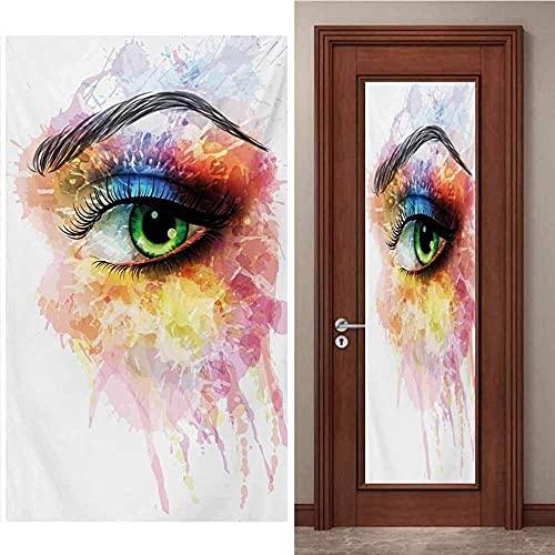 SONYUN Pegatinas Puertas Adhesivo 95x215cm Graffiti de Ojos de Moda de Color para Puertas Papel Pintado Puertas Autoadhesivo, Impermeable Papel Pintado Puerta Mural Puertas Pegatinas 3D para Puerta