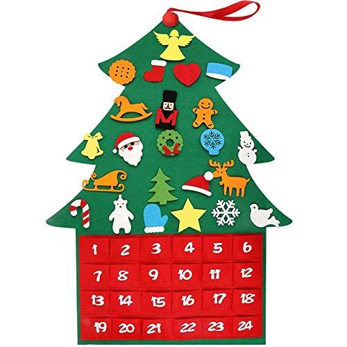 Generp Weihnachtsbaum Stoff Adventskalender Ornamente Filz 24 Tage Countdown bis Weihnachten DIY Dekoration Wand Tür Hängen Geschenk mit Taschen für Kinder