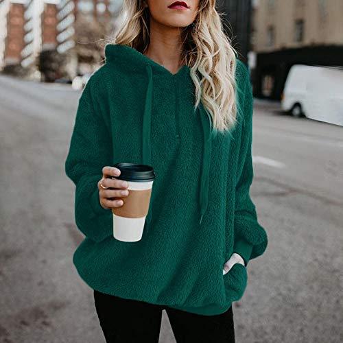 SHOBDW Liquidación Venta Mujer Sudadera con Capucha Suelta Tallas Grandes Jersey de Mujer Jersey otoño Invierno Manga Larga Remata Abrigo cálido(Verde,S)