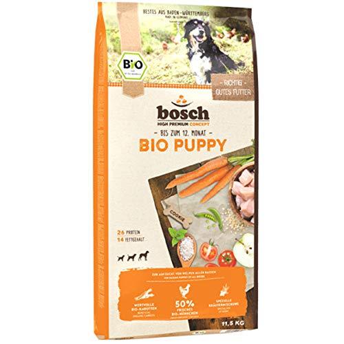 bosch HPC BIO | Puppy Hühnchen & Karotten | Hundefutter für Welpen aller Rassen | 100 % Rohstoffe aus nachweislich biologischem Anbau | 1 x 11.5 kg