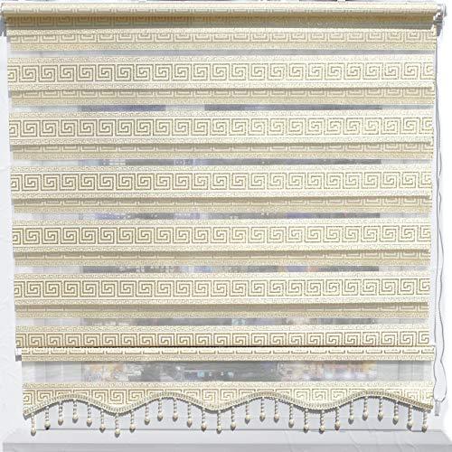 Brillant Gardinen Duorollo Doppelrollos für Fenster Tür Verdunkelungsrollo Versace Gold mit Perlen 70 x 200 cm
