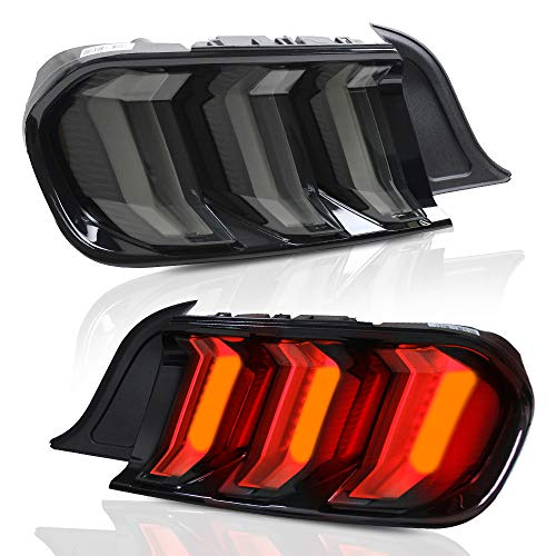 A&K Led Tail Lights for Ford Mustang 2015 2016 2017 2018 2019,Rear Lights Assembly with Sequential Turn Signal Light,Driver and Passenger Side (Smoke)