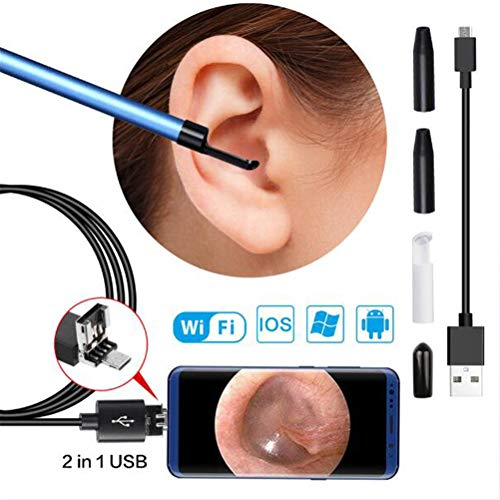 GFYWZ Drahtloses Ohrendoskop mit 5,5 mm HD-Inspektionskamera Ohrenschmalzentfernungswerkzeug Otoskop für Android und iOS Smartphone, iPhone, Tablet und Computer