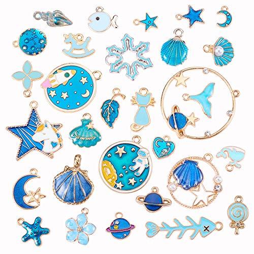 Stiesy 30 piezas de esmalte mezclado para hacer joyas estilo Bule colgantes a granel collar pendientes pulsera hallazgos artesanales