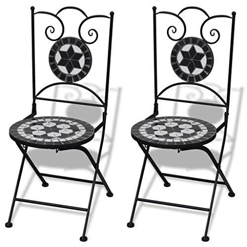 vidaXL 2X Mosaic Bistro Chairs Black and White Outdoor Garden Furniture Seat