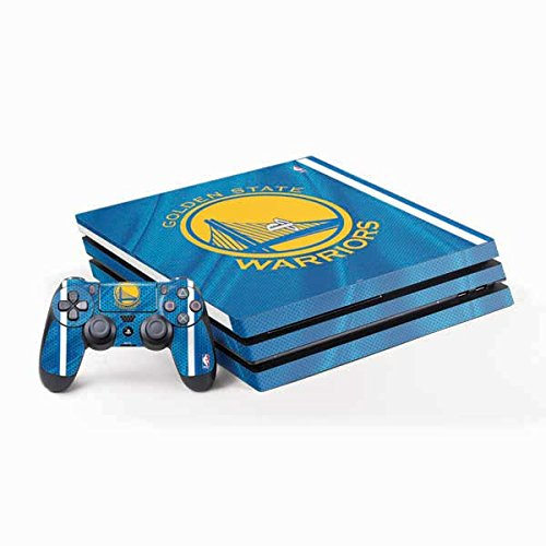 Skinit Decal Gaming Skin for PS4 Pro Console and Controller Bundle - Officially Licensed NBA Golden State Warriors Jersey Design