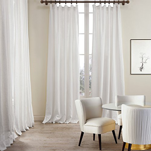 ChadMade Premium 2-Layer Plain Flat Hook for Rod with Rings or Track Linen Cotton White Curtain Drapery (1 Panel) in 50Wx96L inch