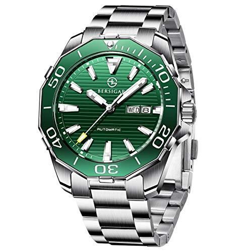 BERSIGAR Herren-Automatikuhren Edelstahl Schwarzes Zifferblatt Business Casual Armbanduhr für Männer