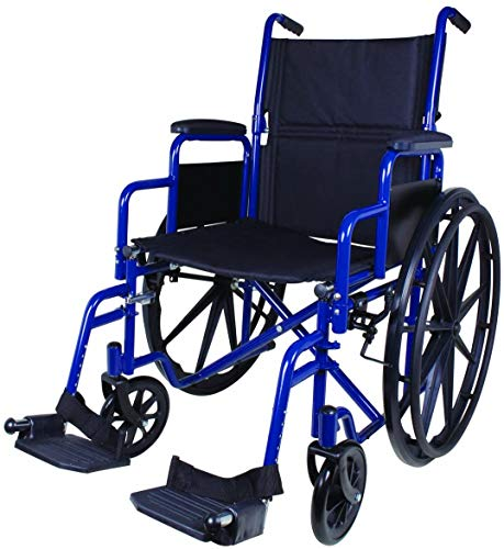 """Carex Wheelchair with Large 18"""" Padded Seat - Lightweight with Adjustable and Removable Swing-Away Footrests - Folding Chair for Compact Storage - 250lb Capacity"""