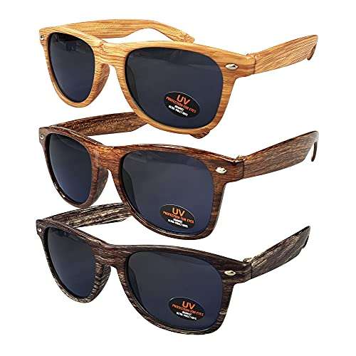 Sunglasses for Men, Women & Kids by Ray Solée- 3 Pack of Tinted Lenses with UVA & UVB Protection (Light Woodgrain,Woodgrain,Dark Woodgrain, Black)