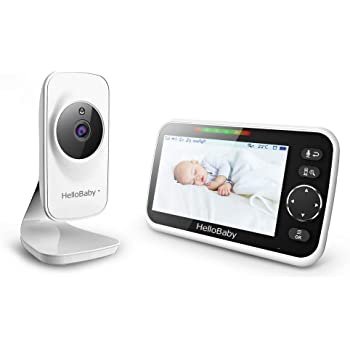 HelloBaby 5'' Video Baby Monitor with Camera and Audio, Color LCD Screen, Infrared Night Vision Camera, Temperature Display, Lullaby, Two Way Audio and VOX Mode, HB50