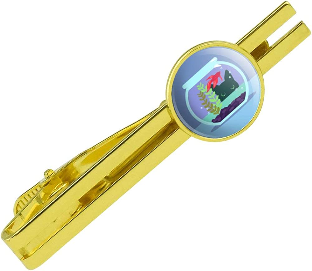 GRAPHICS & MORE Black Cat Staring at Betta Fish Bowl Round Tie Bar Clip Clasp Tack Gold Color Plated