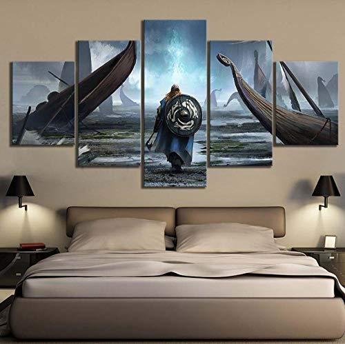 cmhai Leinwand Malerei Wandkunst Modulare Bilder 5 Stücke/Stücke Wikinger Film HD Druck Poster Home Dekorative Moderne Wohnzimmer Rahmen-40x60cmx2 40x80cmx2 40x100cmx1