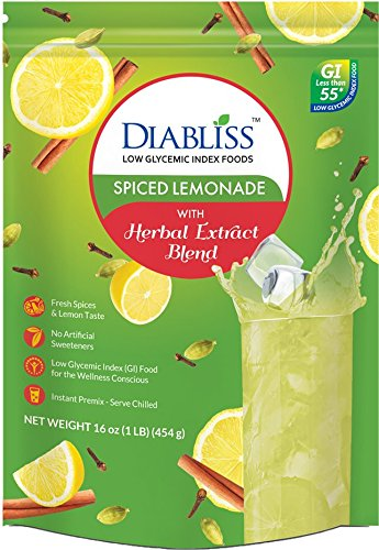 Spiced Lemonade Instant Drink Mix With Herbal Extract Blend - Low Glycemic - Sweetened with Regular Sugar Substitute - Lemonade Powder Mix With Extracts Of Turmeric,Cinnamon - Stevia Free - 1lb