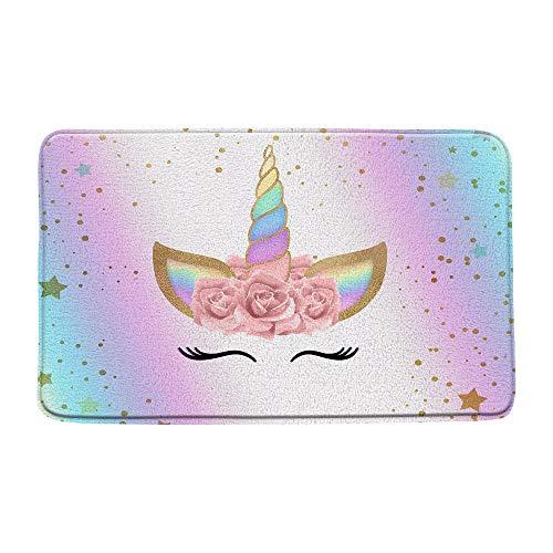 "AMHNF Unicorn Bath Mat Rainbow Star Magic Head Pink Flower Girl Baby Kids Bathroom Microfiber Memory Foam Bathroom Decor Rug Non Slip Absorbent Doormat Kitchen Toilet Floor Rug,19.7"" x 31.5"""